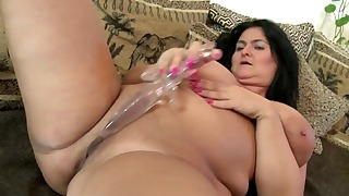 Sensual brunette mature BBW shows pussy