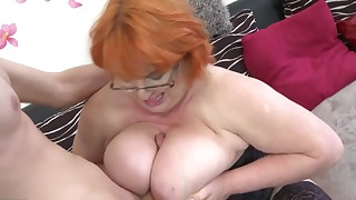 Sexy busty mature lingerie sex with young man