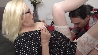 Sweet blonde mature likes young cocks