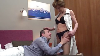Playful mature nicely sucks a hard big cock