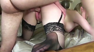 Adorable lady in stockings needs a dick