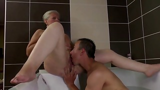 Sexy beautiful mature action in the bathroom
