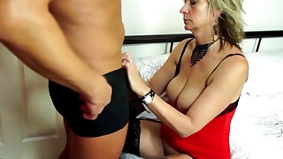 Good-looking blonde mature fucked from behind