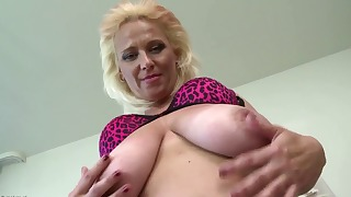 Excellent busty blonde mature solo with toys