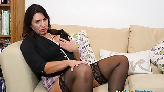 Sensual solo on the sofa with a hot model